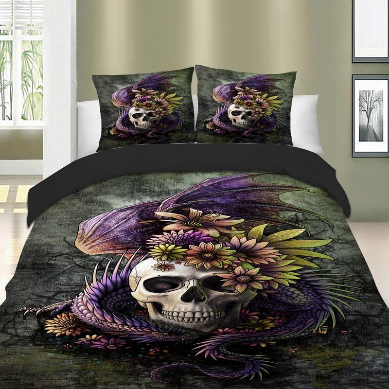 Skull Bedding Set Owl Duvet Cover Set Dragon Bed Cover Set Cat Bed Linen Twin Full