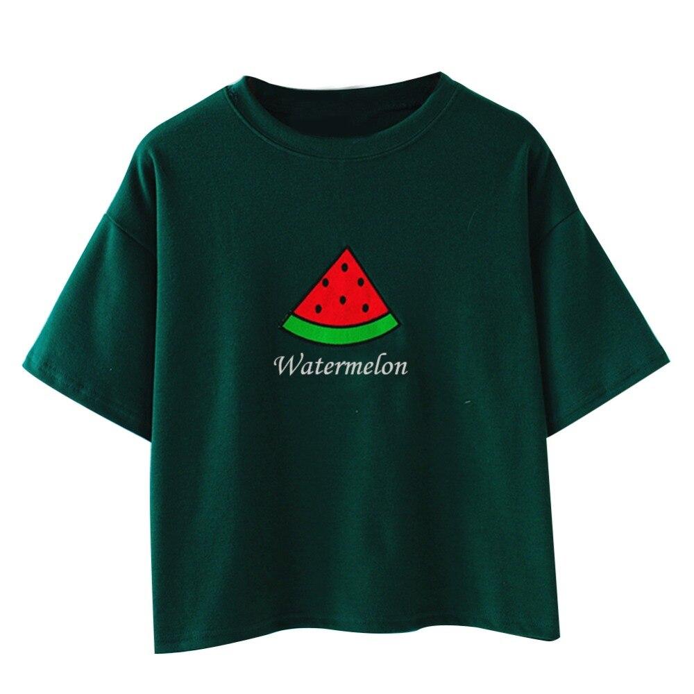 New 2017 summer women embroidery t shirt watermelon carrot for Best dress shirts 2017