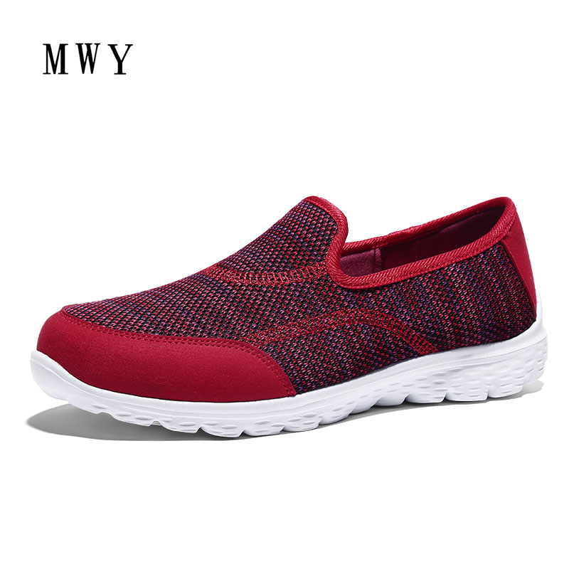 MWY Women Casual Shoes Breathable Women's Fashion Air Mesh Summer Shoes Female Soft Soles Slip On Plus Size Footwear Sneakers minika fashion air mesh shoes women breathable