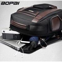 BOPAI Large Capacity Laptop Backpack Anti Theft USB Charging Fashion Men Shoulders Bag Travel Backpack Waterproof