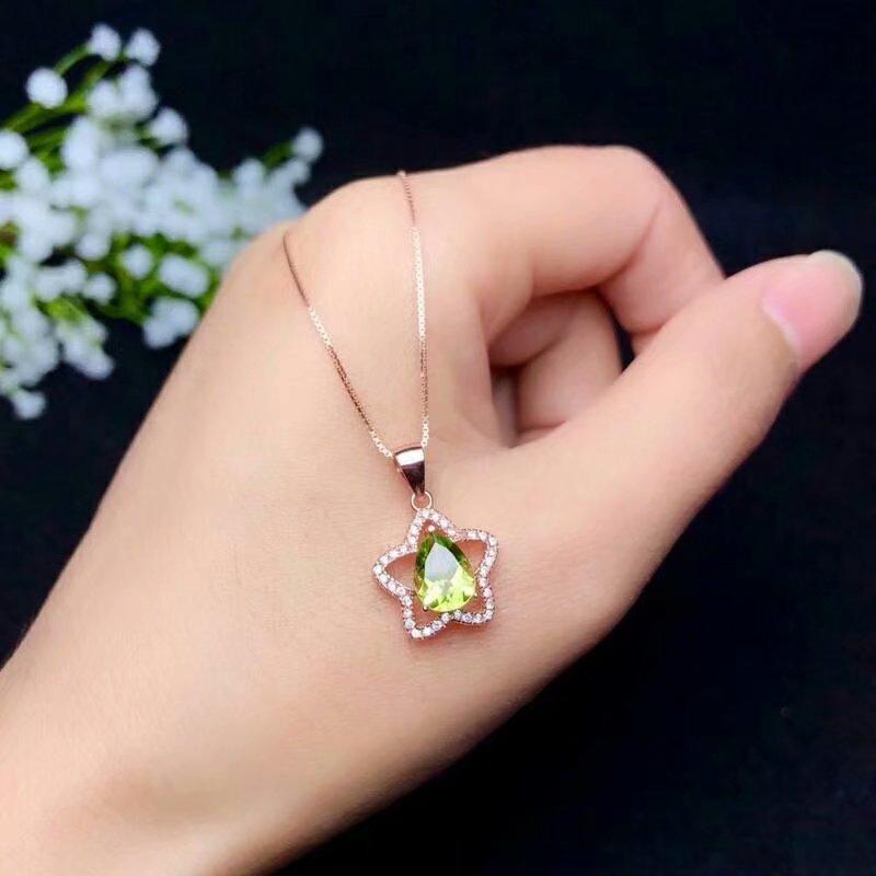 SHILOVEM 925 argent sterling péridot pendentifs collier bijoux fins femmes cadeau de mariage en gros nouvelle plante 6*8mm bz060808agg
