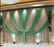 3m*6m(10ft*20ft) wedding backdrop curtain with swag backdrop/ wedding decoration romantic Ice silk stage curtains