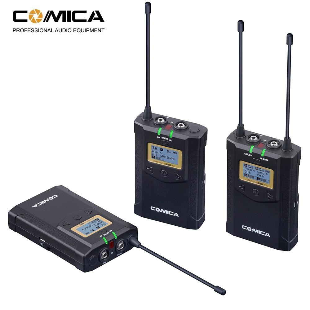 Comica WM100 PLUS Dual Lavalier Lapel Mic System Wireless Camera Microphone for Canon Nikon Fuji Cameras,Camcorder,Smartphone