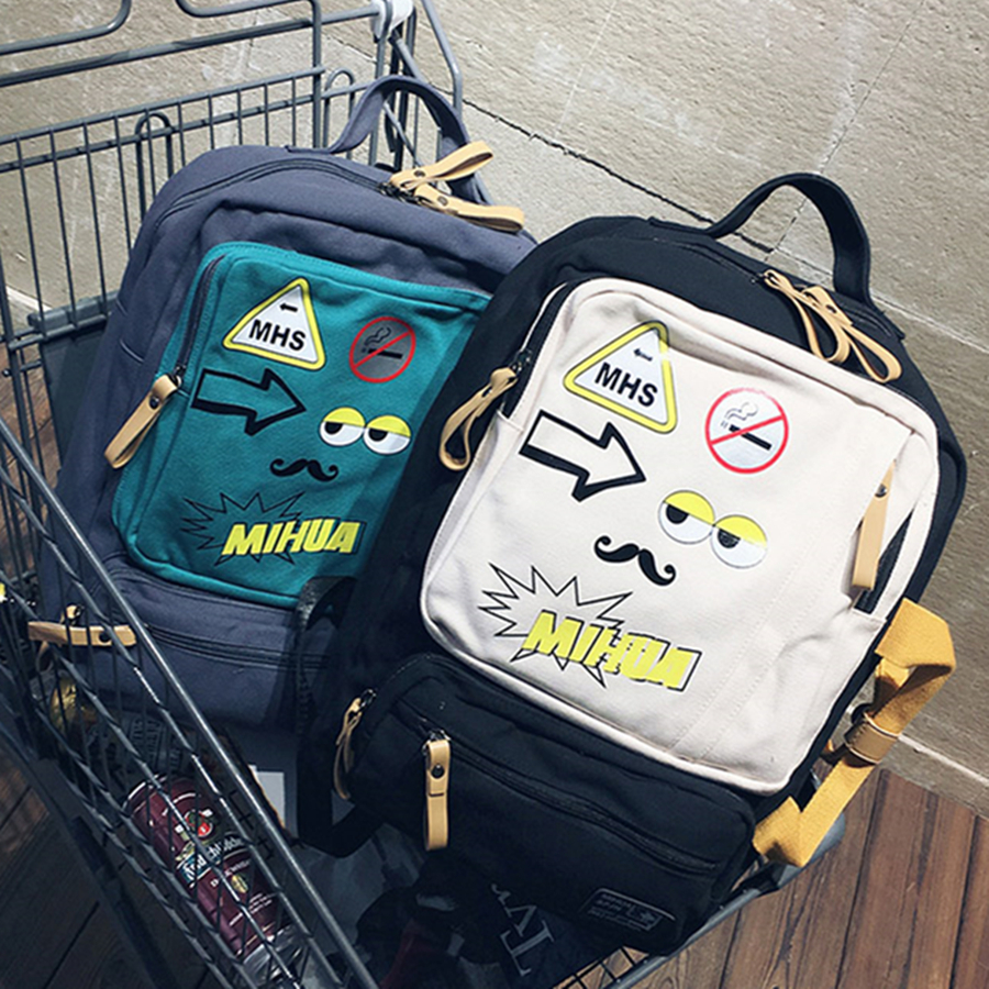 ФОТО 2017 New Printing Backpack Patchwork Women Canvas School Bags Teenagers Laptop Backpack Japan And Korean Mochilas Feminina
