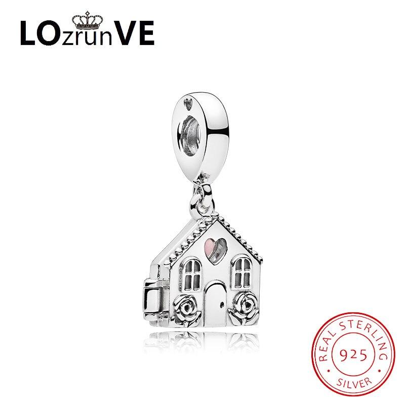 LOZRUNVE d'origine DIY bijoux S925 argent bamoer coeur belle maison maison mignon de mode charme femmes usine en gros