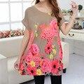 Новый 2016 Т Рубашка Плюс Размер Женщины Печати мини-платье с коротким рукавом Свободные Повседневная МАЙКИ Топы мода элегантные платья 4xL 5XL