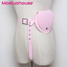 Moeluohouse Heart Shape Transparent Waist Fanny Packs Bag Female Women Girl Adjustment Belt Hasp Solid PVC Korean Style Gift