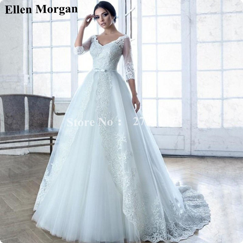 Luxury Long Sleeve Wedding Dresses 2017 Open Back Corset Lace Real ...