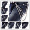 Fashion Punk Hip-hop Trendy Belt Waist Chain Multilayer Male Pants Chain Hot Men Jeans Silver Metal Clothing Accessories Jewelry