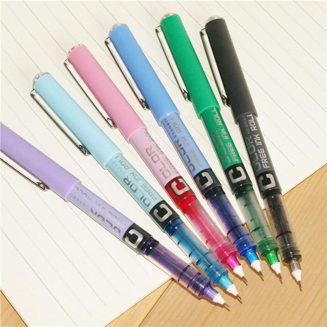 1pc 0.5 Needle type straight liquid type ball pen color pen water Gel Pens 5