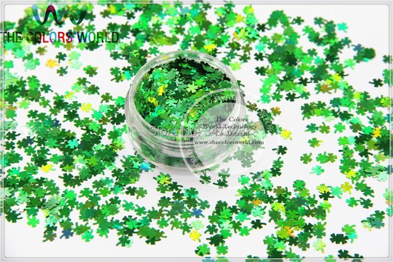 Holográfico cor verde quatro-folha trevo shamrock forma