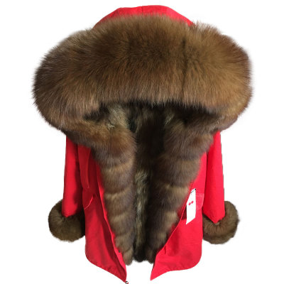 Korean Women Parka Long Parkas Winter Jacket Fur Coat Real Fox Fur Collar Natural Fox Fur Inside Thick Warm Outwear Casual