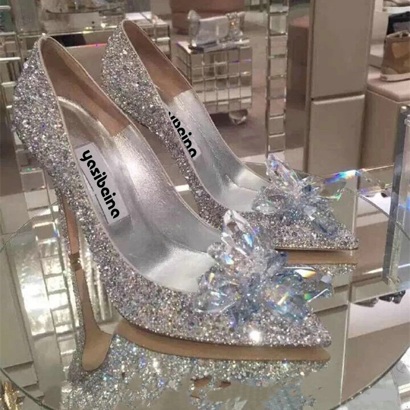 2019 European Wedding Shoes Female Rhinestone Crystal Shoes Stiletto Pointed Red Bridal Shoes Fashion Bridesmaid High Heel