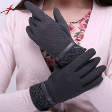 Feitong Womens Elegant Gloves 2017 Fashion Phone Touching Screen Winter Sporting Warm Full Finger Gloves Mittens Cashmere Female