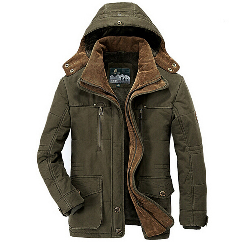 Winter-Jacket Coats Parka Hooded Windbreaker Warm 40-Degrees Men's Plus-Size 5XL 6XL title=