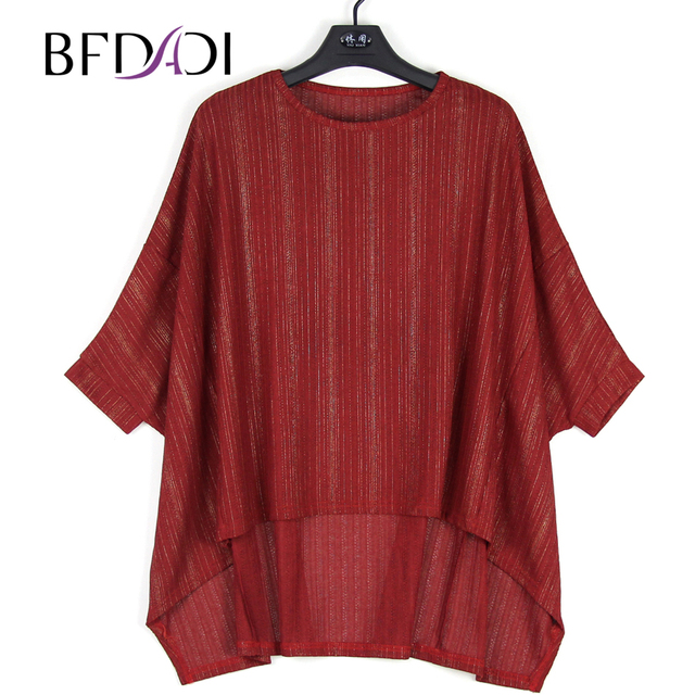 BFDADI 2018 Womens T Shirts Sexy Oversized Cape Casual Top For Women Batwing Sleeves Irregular Loose T-Shirts 1853