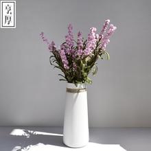 2016 Brief modern home decoration white hemp rope japanese style ceramic flower vase Restaurant display,Free shipping