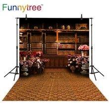 Fondos de árboles divertidos para estudio de fotografía vintage sala de estudio estantería de madera flores decoración alfombra Fondo fotomatón