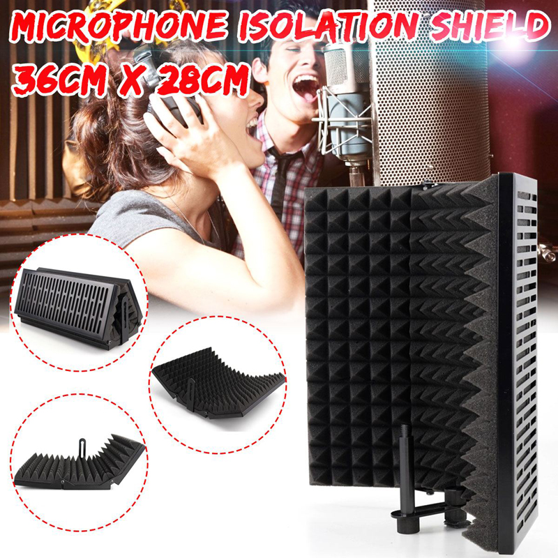 Foldable Microphone Acoustic Isolation Shield Adjustable Alloy Acoustic Foams Panel Studio Recording Microphone Accessories