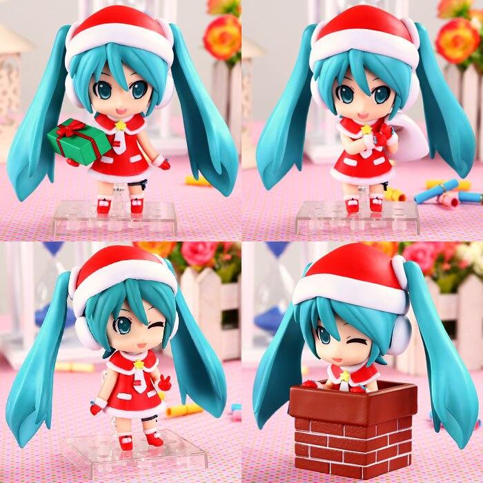 Free Shipping 4pcs Cute 4 VOCALOID Hatsune Miku Christmas Ver. Boxed 10cm PVC Action Figure Collection Model Toys (4pcs set) 170 cute hatsune miku face changeable figure garage kit set