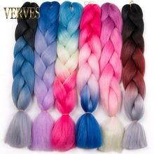 VERVES Braiding Hair 1 piece 24 inch Crochet Jumbo Braids 100g/piece Synthetic ombre Kanekalon Fiber Hair Extensions color blue(China)