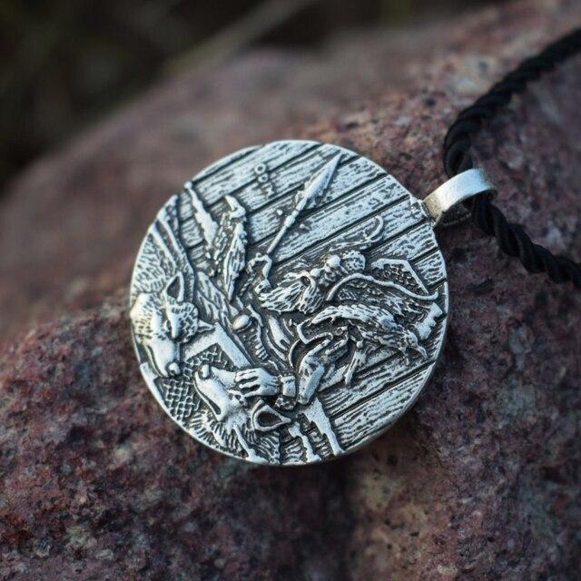 God Odin With Ravens And Wolf Pendant Necklaces Norse Odin Viking Jewelry Slavic Pendant Sanlan Original Jewelry 3