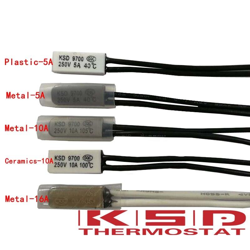 100PCS KSD9700 Thermostat 15~240 degree 5A/10A/16A 250V Temperature Thermal Control Switch  nc/no 40/45/50/55/60/65/70/80/85/90