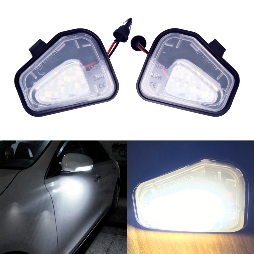 2Pcs Car Styling Auto No Error Under Mirror LED Puddle Light Lamp for Volkswagen VW Golf MK6 GTI Touran 2011+ White Accessories hot sale abs chromed front behind fog lamp cover 2pcs set car accessories for volkswagen vw tiguan 2010 2011 2012 2013