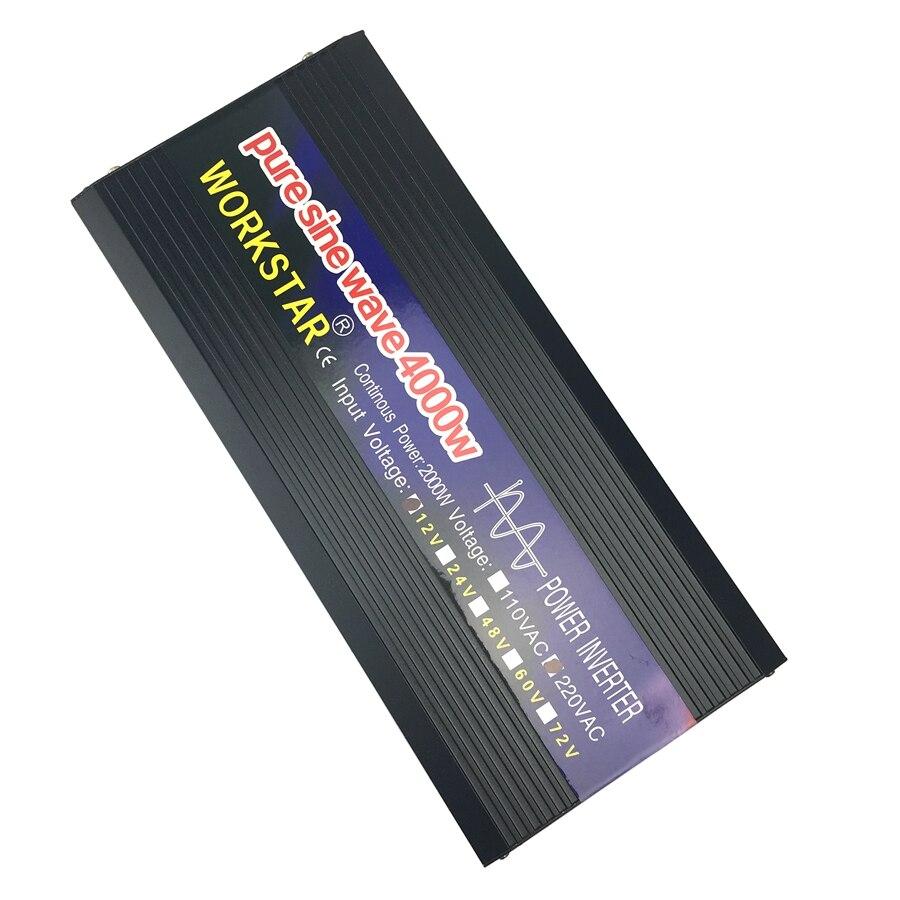 WORKSTAR Crête 4000 W Onde sinusoïdale Pure HORS Réseau Onduleur DC12V/24 V à AC220V 50 HZ/60 HZ Onduleur pour Cuiseur À Riz/Perceuse À Main