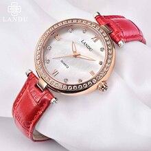 LANDU Кожаный Ремешок Женщины Часы Кристалл Алмаза Платье Дамы Случайные Кварцевые Часы Спорт Наручные Часы Красный Часы