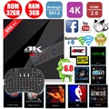 S912 H96 Pro + Amlogic Octa Núcleo 3G/32G Android 6.0 TV Box WiFi APLICATIVOS Pré-bt4.0 instalado 2.4G/5.8G H.265 4 K Media Player + Teclado