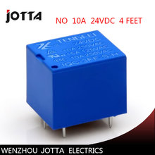 Free shipping  5pcs/lot  JQC-3FF-S-Z T73 24VDC 4 feet 10A /4 Pins RELAY  Coil Power Relay  NO electromagnetic relay 10 sets free shipping ly4nj hh64p dc24v 14pin 10a power relay coil 4pdt with ptf14a socket base