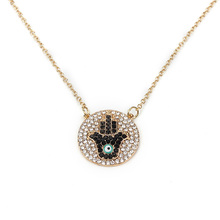 Trendy Design Fashion Jewelry Alloy Metal Gold Color Long Chain Crystal Hamsa Hand Evil Eye Pendant Necklace For Women