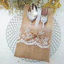 Paquete de 50 servilleteros de arpillera Natural de 4x8 pulgadas, bolsa para cubiertos para decoración de boda Vintage, mesa de fiesta de ducha nupcial