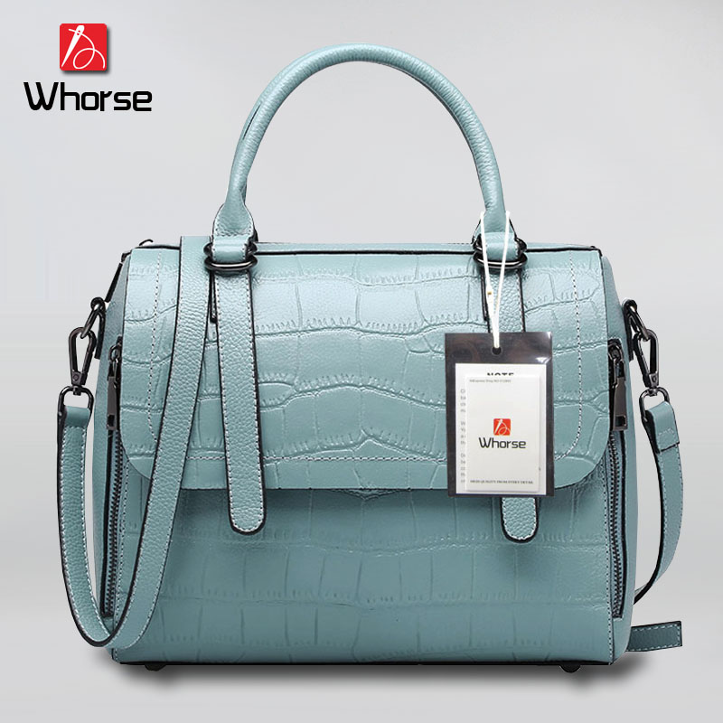 [WHORSE] Brand Logo New Women Embossed Handbag Crocodile Pattern Tote Bags Genuine Leather Shoulder Messenger Bag For Lady W0763 стоимость