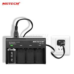 Умное зарядное устройство NKTECH, 9 В, 6F22, светодиодный индикатор, авто, 4 слота, для CC/CV, li-ion, Ni-MH, LiFePO4, Soshine, аккумуляторы, TrustFire