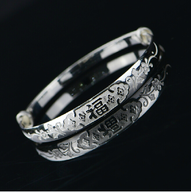 New Arrival Pure 990 Sterling Silver Vintage bring Lucky BangleNew Arrival Pure 990 Sterling Silver Vintage bring Lucky Bangle