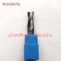 1pc D12*30*75 HRC55 2 Flutes Flat Square Solide Carbide End Mills CNC router bit milling cutter knfie fresa