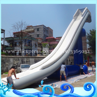 Factory price Inflatable floating water slide for boat , giant inflatable yacht slide for sale with frame