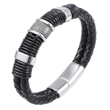 New Fashion Multilayer Braided Leather Bracelet Men Top Quality Stainless Steel Magnetic Clasp Bangles Punk Male Jewelry