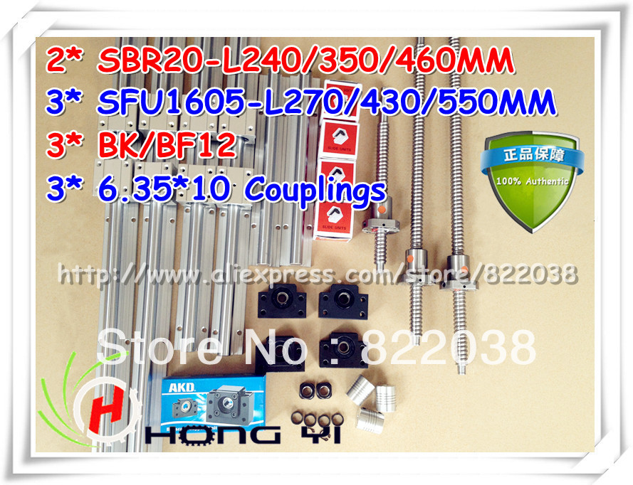 2* SBR20 Linear rail +12*SBR20UU +3* ballscrews RM1605 -L270/430/550mm +3*BK12/BF12 Ball screw Support +3*coupling for CNC 2 x sbr20 300 600 1000mm linear rail support sets 3 ballscrews rm1605 3 bk bf12 3 coupling