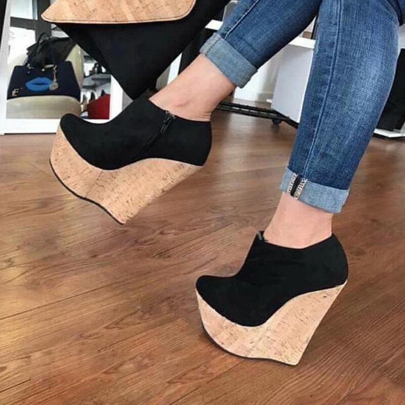 FGHGF NEW,Shoes, Women's Heel Pumps  Shoes, Black 16cm Wedge Shoes, Fashion Sexy Free Shipping Women's Shoes