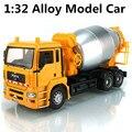 1:32 grande hormigonera modelo de aleación de camiones de hormigón, hay embalaje de regalo coche de juguete para niños, envío gratis