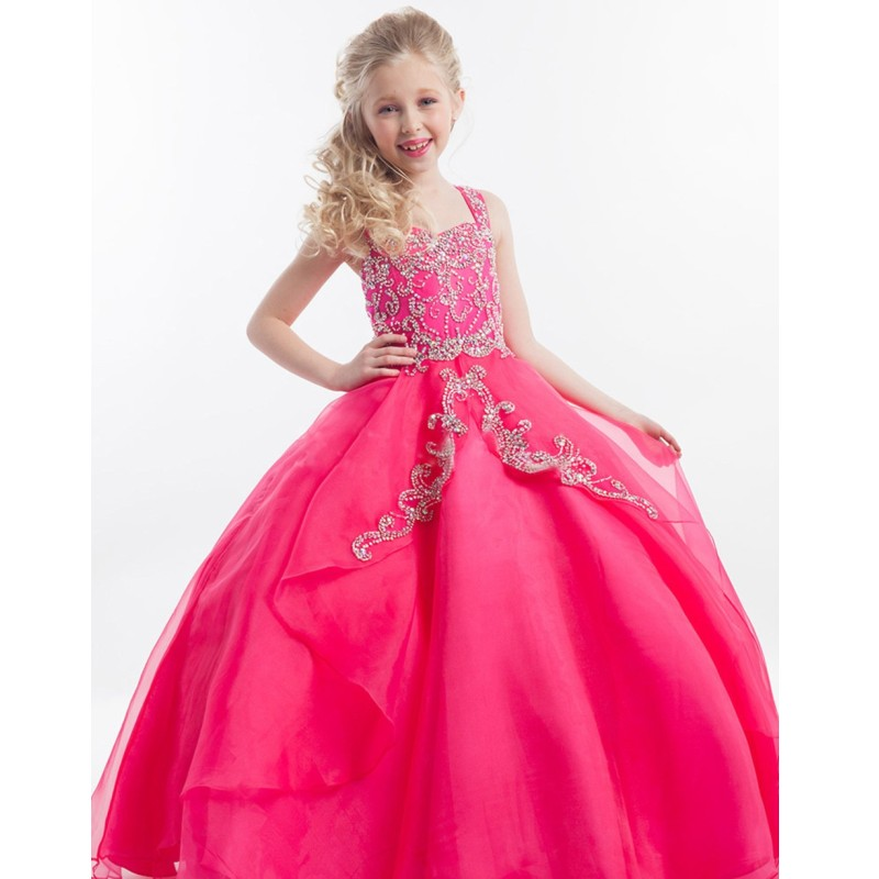 Beading Long Custom Made Flower Girl Dresses Pink White Puffy Tulle Beaded Shiny Girls Pageant Gown Any Size