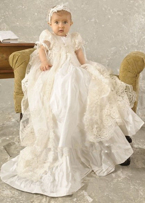 White Ivory Baby Infant Girls Christening Dress Custom Made Baptism Gown Lace Applique O-Neck Short Sleeves With Headband