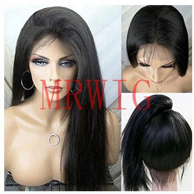 MRWIG pelo Real largo Yaki recto de encaje sintético peluca frontal sin pegamento resistente al calor de la fibra libre de la separación de las mujeres