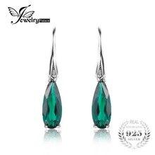 Jewelrypalace 4.1ct nano ruso creado esmeralda gota cuelga los pendientes de gota de agua auténtica plata de ley 925 joyas de plata para las mujeres