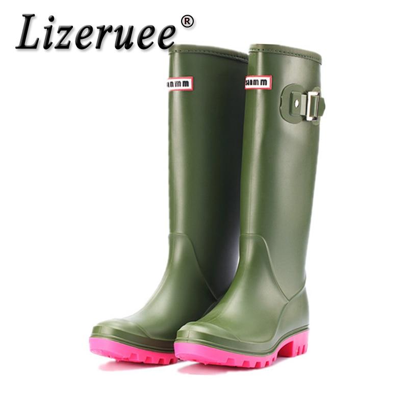 Lizeruee Rubber Rainboots Women's Rain Boots Waterproof Matte Knee-High Wellies Wellington Boots For Garden Work Boots CS583