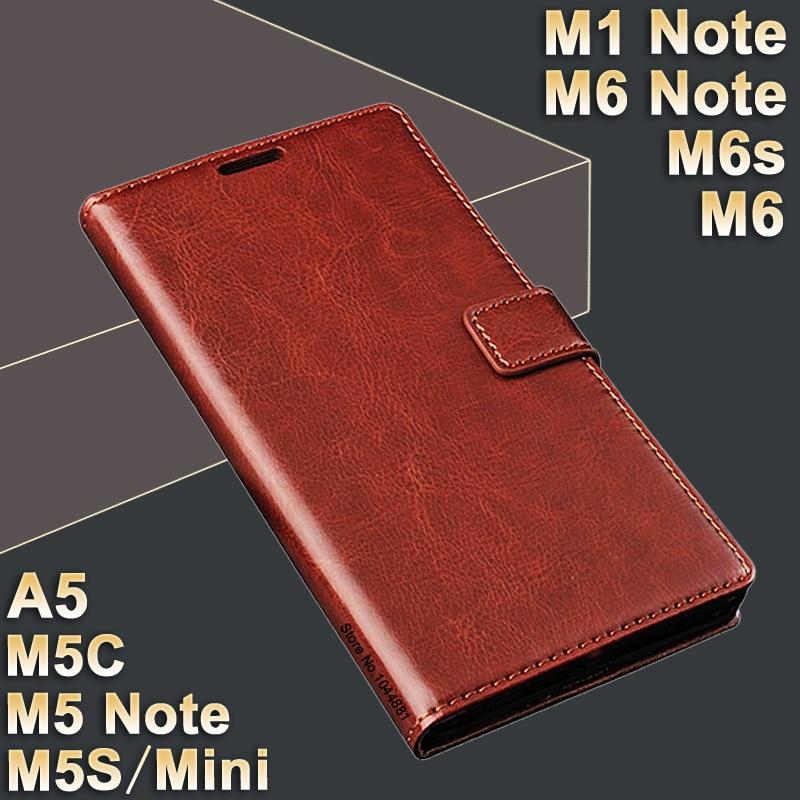 MeiZu M5 Նշում m 5 գործի կաշի MeiZu M1 Նշման դեպքում բարձրորակ պատյան MeiZu M6 Note / M6s / M 6 Cover Flip PU M5S Meizu M5C դեպքում