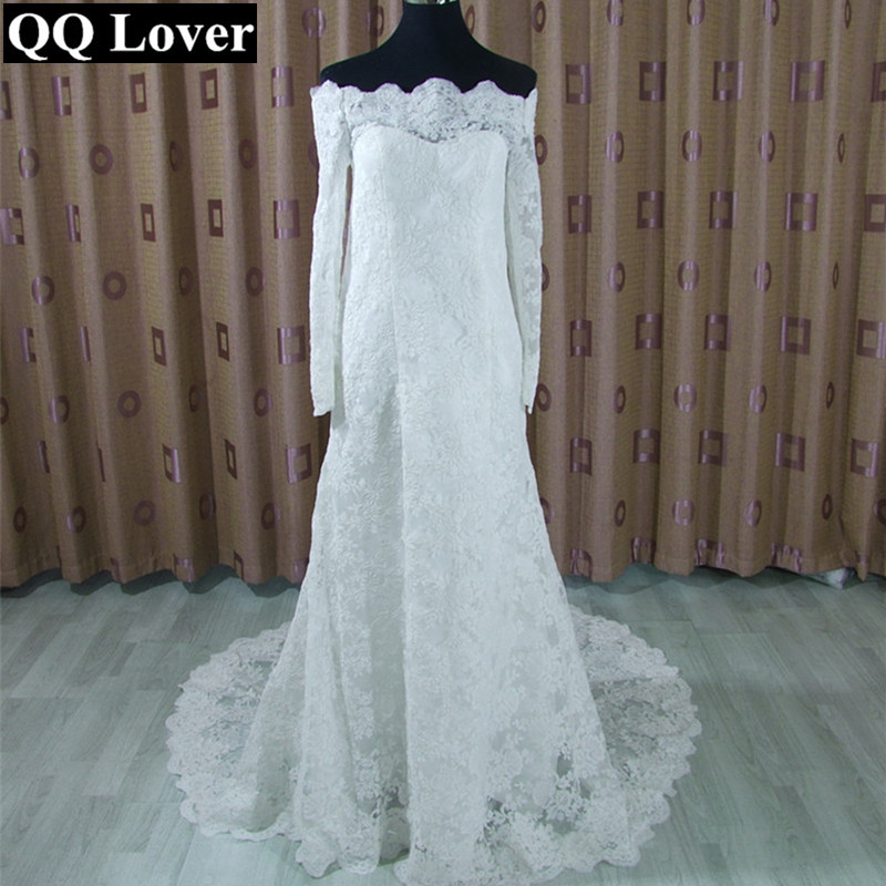 QQ Lover 2017 New Top Lace Long Sleeve Boat Neck Mermaid font b Wedding b font